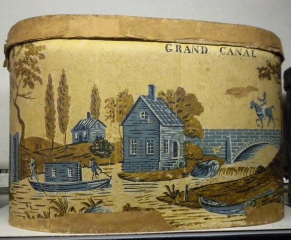 "Some bandboxes featured images of famous events or places. This example from the early 1830s, marked ""GRAND CANAL"", depicts the newly opened Erie Canal at Little Falls, New York. CHS 1967.36.24"