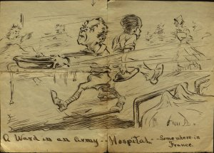 Oscar Sandell may have drawn this cartoon about his experiences with the Ambulance Corps in World War I.