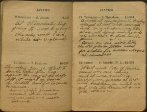 Oscar Sandell's diary, with an entry about landing at Harvre, France, in January 1918.